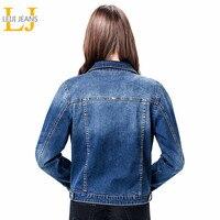 2019 LEIJIJEANS Frauen Plus Größe 6XL lange grundlegender jeans jacke mantel Bleach Volle Hülsen Einzelne Brust Dünne Frauen Denim Jacke