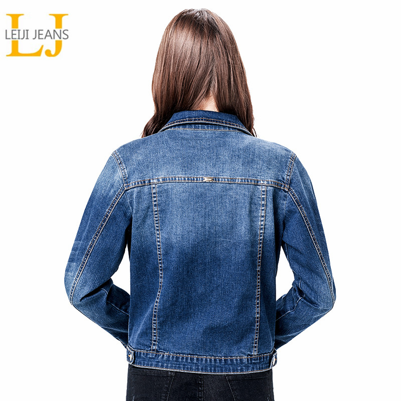 2019 LEIJIJEANS Dames Plus-maat 6XL basical-jeansjack met lange mouwen Bleach-mouwen met lange mouwen Single breast slim dames-denimjack