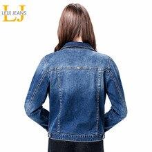 2020 LEIJIJEANS Nữ Plus Kích Thước 6XL Dài Basical Áo Khoác Jeans Phối Tẩy Full Tay Đơn Ngực Ôm Áo Denim