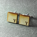 Mens Cuff links, Custom name cuff link  Wedding cuff links wooden