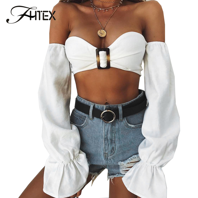 FHTEX Women Elegant Flare Sleeve Summer Crop Top Sexy Strapless Off the Shoulder White Casual T Shirts Back Zipper Short Tees
