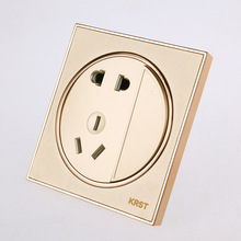Wall Switch Socket, 86 High-End Home Decoration Round Supreme Golden Paint Baking Varnish, A Double-Control Socket
