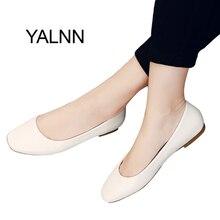 Yalnn квадратном туфли на плоской подошве Новые Кожаные слипоны на платформе 1 см каблуке белые туфли женские кожаные туфли для девочек Женские