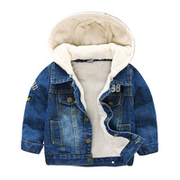 Baby Boys Girls Jeans Jacket 2019 Winter Toddler Denim Fleece Jacket Kids Hooded Coats Children Outfit Clothes 2 3 4 5 6 7 Years