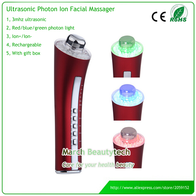 Home Skin Beauty Spa Rechargeable 3MHZ Ultrasonic Photon LED Light Rejuvenation Ion Facial Beauty Device Face Cleanser Massager galvanic spa ultrasonic photon stimulator skin tender facial rejuvenation anti aging face beauty care massager rechargeable