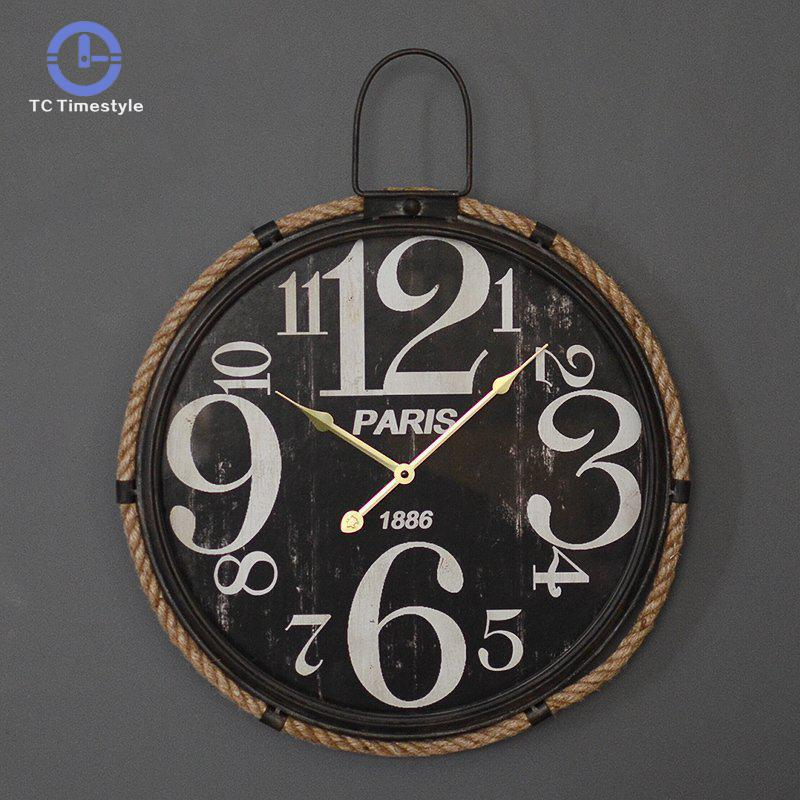 Retro Black White Large Digital Wall Clock Industrial Style Watch Living Room Wall Clocks Decoration Personality Home Decor Gift