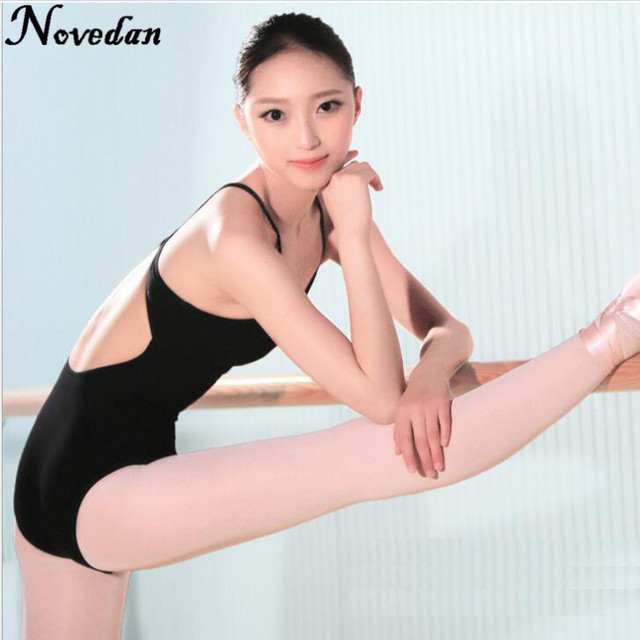 2cac4814df9801 Adult Ballet Leotards Bodysuit Black Backless Sleeveless Ballet Dance Wear  Sexy Open Back Gymnastics Leotard For Women