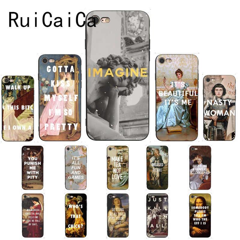 RuiCaiCa Klassische Kunst Memes Zitate Schwarz TPU Weichen Telefon Abdeckung für iPhone 8 7 6 6 S 6 Plus X XS MAX 5 5 S SE XR 10 Abdeckung