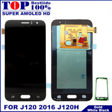 For Samsung Galaxy J120 2016 J120F J120H J120M LCD Super AMOLED LCDS Display Touch Screen Digitizer Replacement Sticker Glass(China)