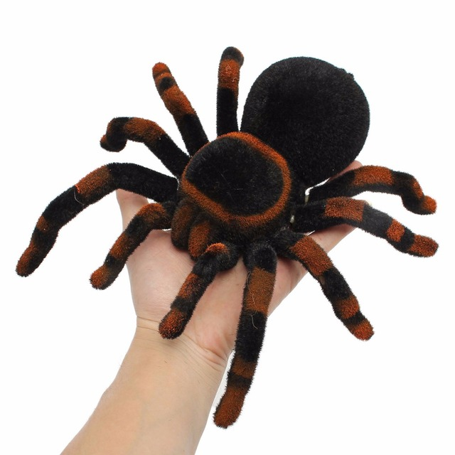 Lomalson 4 Channel RC Spider Eyes Shine Halloween Simulation Spider RC Tricky Scary Toy Prank Gift Model