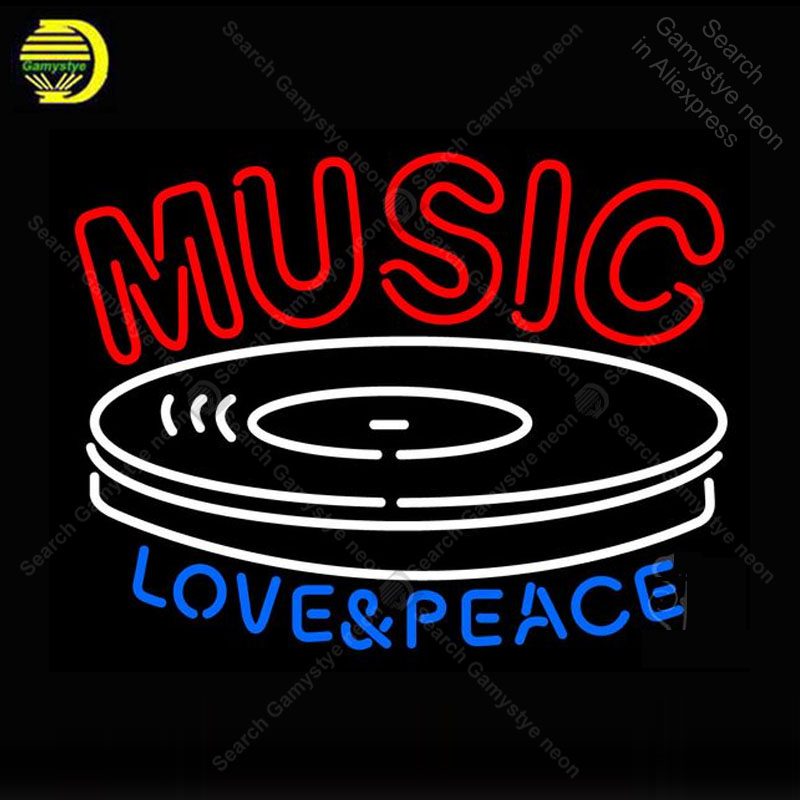 Neon Sign for Music Love Peace Neon Bulb sign handcraft love gift glass tube light Decorate wall lamps advertise display store