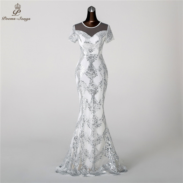 Poems Songs 2018 Mermaid Evening Dress prom gowns Formal Party dress  vestido de festa Elegant Luxury Silver robe longue 9b6f356fda4c