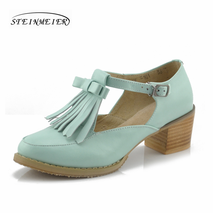 Women summer genuine leather oxford sandals tassel bow round toe handmade pink white 5cm heel casual oxfords shoes for women women high heel shoes women slingbacks sandals genuine leather solid color black white summer fashion casual shoes round toe