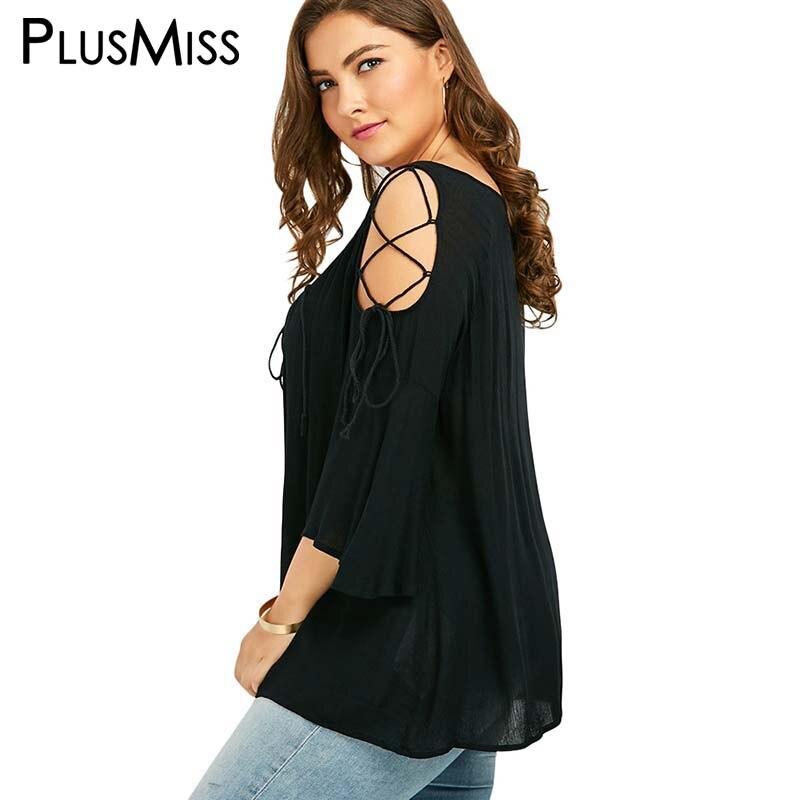 Плюс Размеры 5xl пикантные Кружево Рассыпчатая блузка рубашка Для женщин с расклешенными рукавами Топы корректирующие Винтаж Cold Shoulder Top Лето... ...