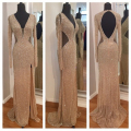 Bling Women Backless Long Evening Dress Deep V-neck Cut Side Long Sleeves Champagne Gold Sequins Sparkly Evening Gowns for Party