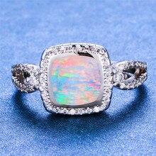 Boho Female Blue White Fire Opal Ring Boho 925 Sterling Silver Filled Finger Ring Promise Love Engagement Rings For Women