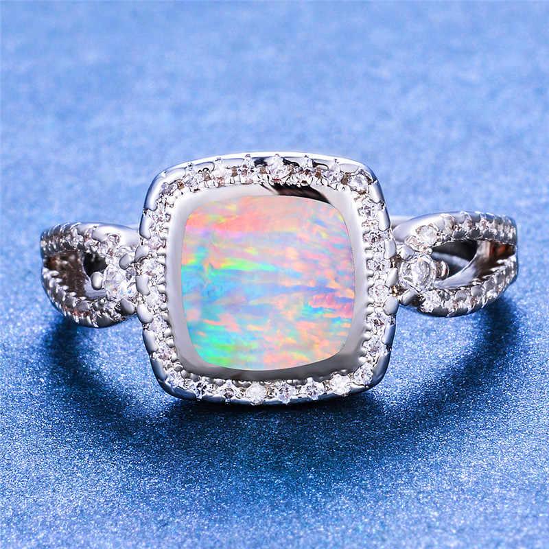 Đời Boho Nữ Xanh Dương Trắng Fire Opal Vòng Đời Boho Bạc 925 Lấp Đầy Nhẫn Hứa Tình Yêu Nhẫn Đính Hôn Cho Nữ