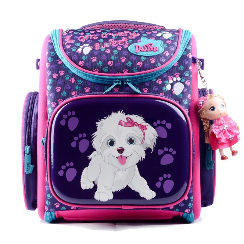 Delune children school bags cartoon bear Dog Cat kid bag for girls for school girl Flower school backpack space raincoat outlet