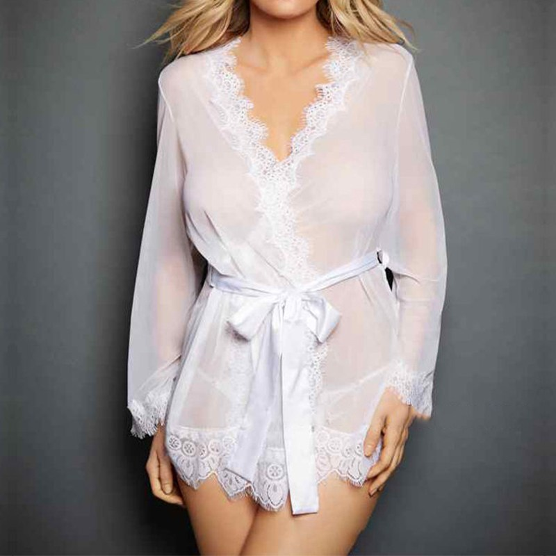 2018 Sexy Women   Nightgowns     Sleepshirts   Long Sleeve V Neck   Nightgowns   Solid Lace Patchwork Transparnet Hollow Out Dress