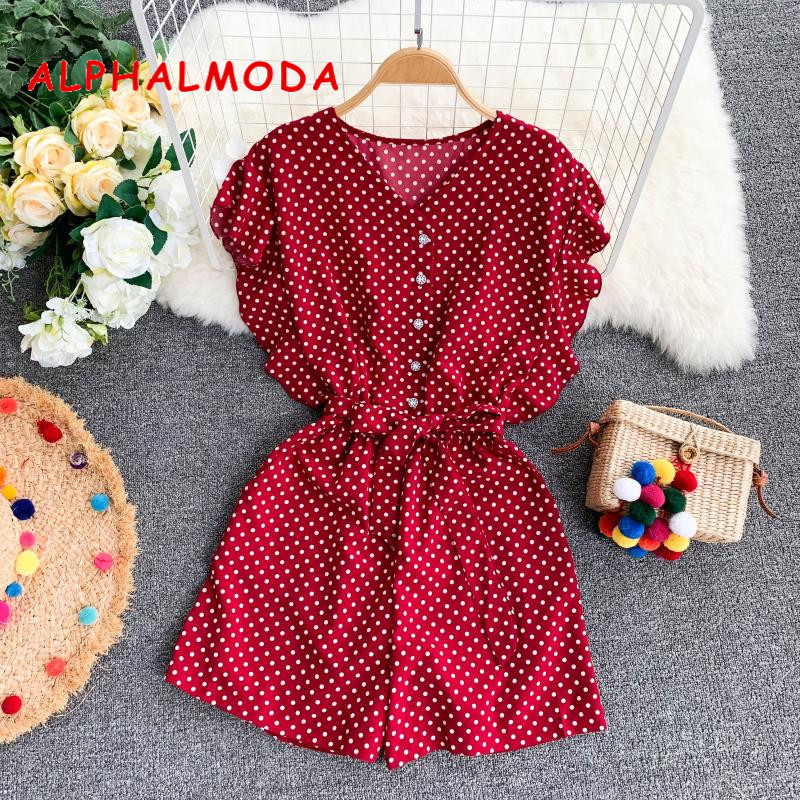 ALPHALMODA 2019 Summer High-waist Casual Resort Playsuit Single Breasted V-neck Fashion Broad-legged Sashes Women Beach Wear
