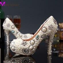 2016 New Fashion White Ivory Flower Pearl Bridal Wedding Dress Shoes Luxury Crystal Diamond Women Pumps High Heels Shoes
