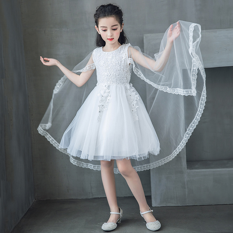 New Lovely Girls Dress Flower Girls Knee Length Lace Dresses with Removable Shawl Gowns For Party Weddings Pageant VestidoNew Lovely Girls Dress Flower Girls Knee Length Lace Dresses with Removable Shawl Gowns For Party Weddings Pageant Vestido