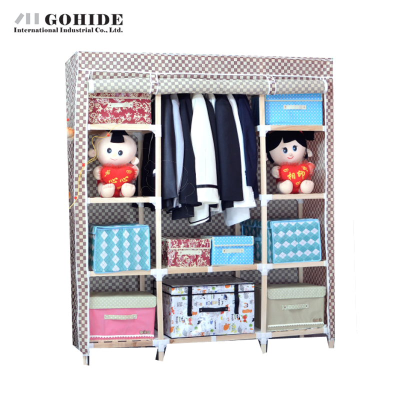 Gohide Non-Woven Simple Solid Wood Multi-Functional Wardrobe Furniture  Wardrobes With Simple Lockers For Bedroom Closet