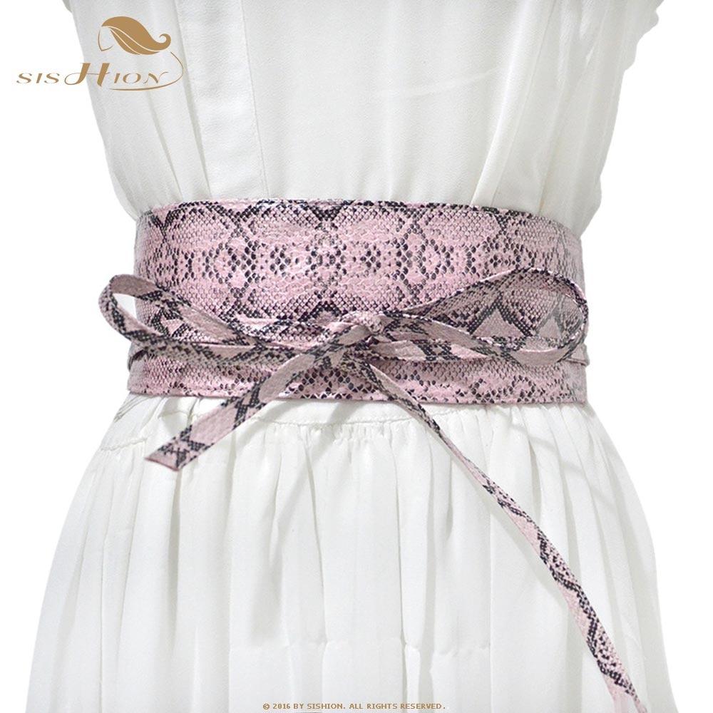 SISHION 2019 New Fashion Snake Print Cummerbunds Women QY0243 Casual Lace-Up Bow Decoration Vintage Waistband For Women Dresses