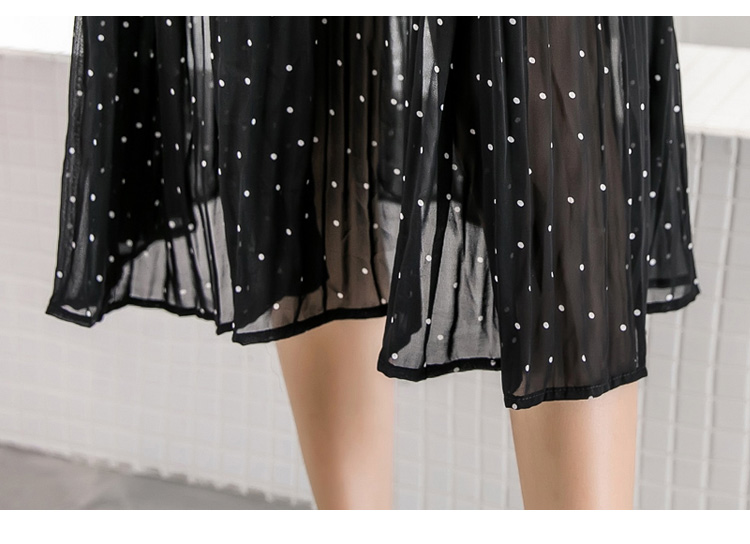 Women chiffon dress 19 spring autumn female elegant vintage long sleeve dot pleated dress office lady casual loose dresses 15