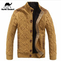 Earth Camel Thickness Cashmere Inside Man's Knitted Sweater,Stand Collar Buttons Fly Solid Casual Cardigan Sweaters Keep Warmly