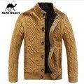 Tierra de Espesor de Cachemir Camel Hombre Interior de Punto Suéter, Collar Del Soporte Botones Mosca Solid Casual Suéteres Mantenga Calurosamente