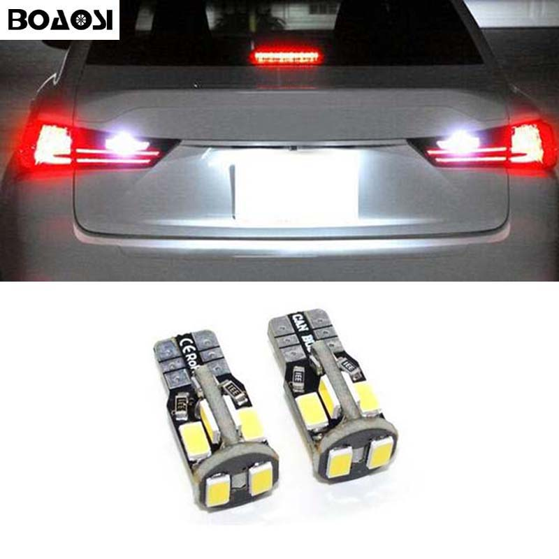 BOAOSI 2x <font><b>CANBUS</b></font> T10 W5W 5630SMD Car Interior Bulb License Plate Light For Nissan Juke Micra III (K12) Micra IV (K13) Note (E11)