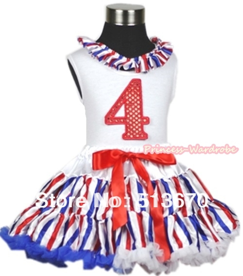 White Tank Top With Red White Blue Stripe Satin Lacing 4th Sparkle Red Birthday Number Red White Blue Stripe Pettiskirt MAMG617 xmas white tank top 2nd sparkle red birthday number with red snowflakes ruffles