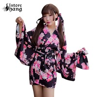 Women's Sakura Kitten Short Kimono Cosplay Traditional Japanese Haori Easy Wear Kimono Jacket Sleepwear Lounge Wear Lingeries
