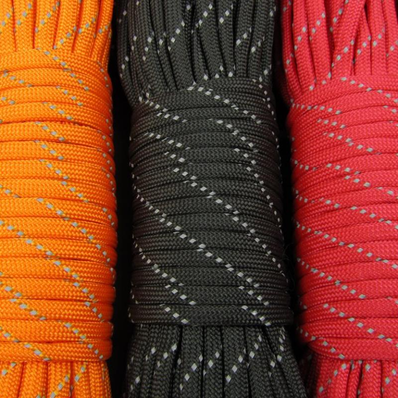 9 Strand Luminous Glow In The Dark & Reflective Paracord 100FT Parachute Cord