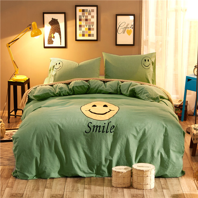 Charming 4pcs Smiley Face Embroidery Bedding Sets Queen King Size Bed Set Washed  Cotton Bed Sheet Duvet