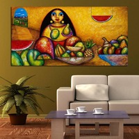 Картина женщина гостиная украшения с ручной росписью картина маслом Декоративная живопись полный фруктов