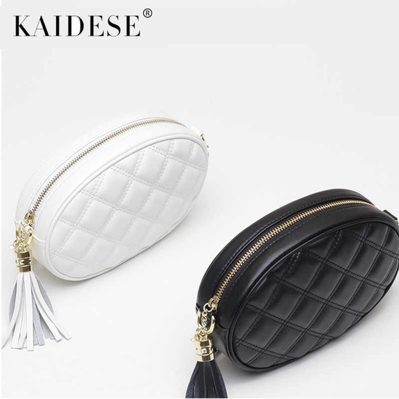 kaidese Crossbody Leather Famous Brand Women Bags Chains Circular Tassel Small Flap Bag Luxury Elegant Shoulder Bags For 2018 Wo stitching chains metallic tassel crossbody bag