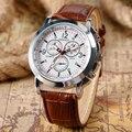2016 Fresco Steampunk Brown Correa de Cuero Reloj de Pulsera de Los Hombres de Negocios del Deporte Vestido Reloj Analógico Casual Reloj montre homme