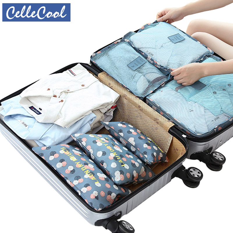 CelleCool Travel Mesh Bag In BagHigh Quality 6PCS/Set Oxford Cloth Luggage Organizer Packing Cube Organiser for Clothing