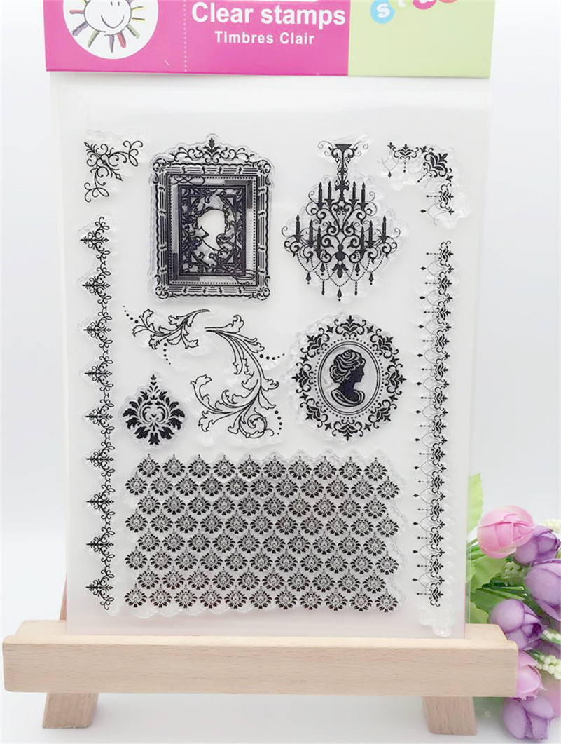 vintage European style design for wedding gift DIY scrapbook paper card rubber transparent clear stamp LL-093 1 design laser cut white elegant pattern west cowboy style vintage wedding invitations card kit blank paper printing invitation