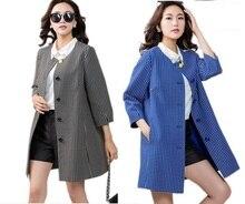 2016Autumn Winter Fashion Women Plus size jacquard polka dot trench coat outwear Three quarter sleeve loose slim blouse topXXXXL