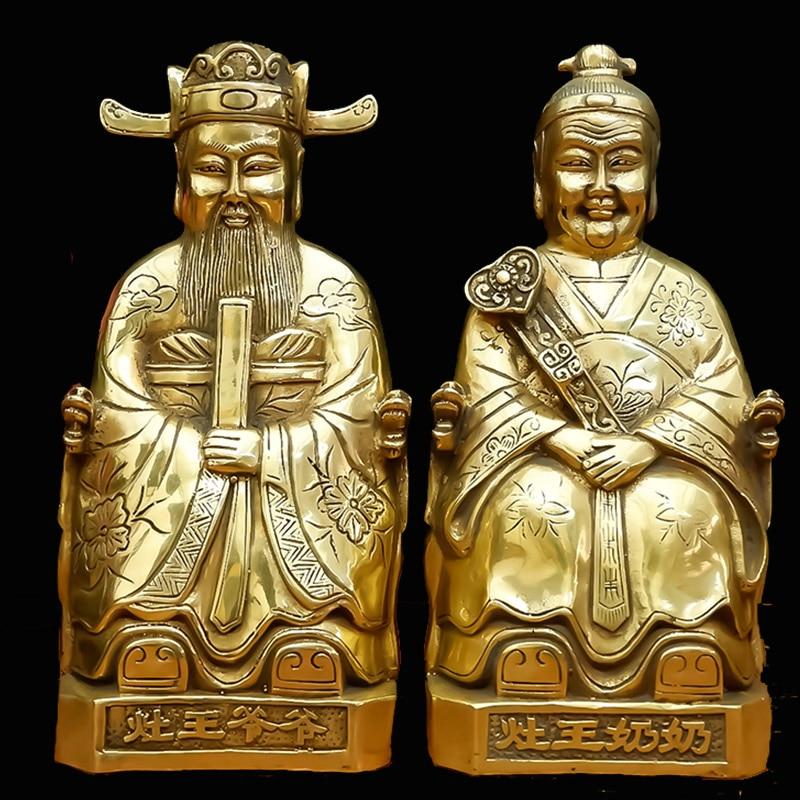 Feng Shui Vesta décoration cuisine dieu cuisine roi cuivre cuisine dieu monarque statue maison sécurité et paix-in Figurines et miniatures from Maison & Animalerie    1