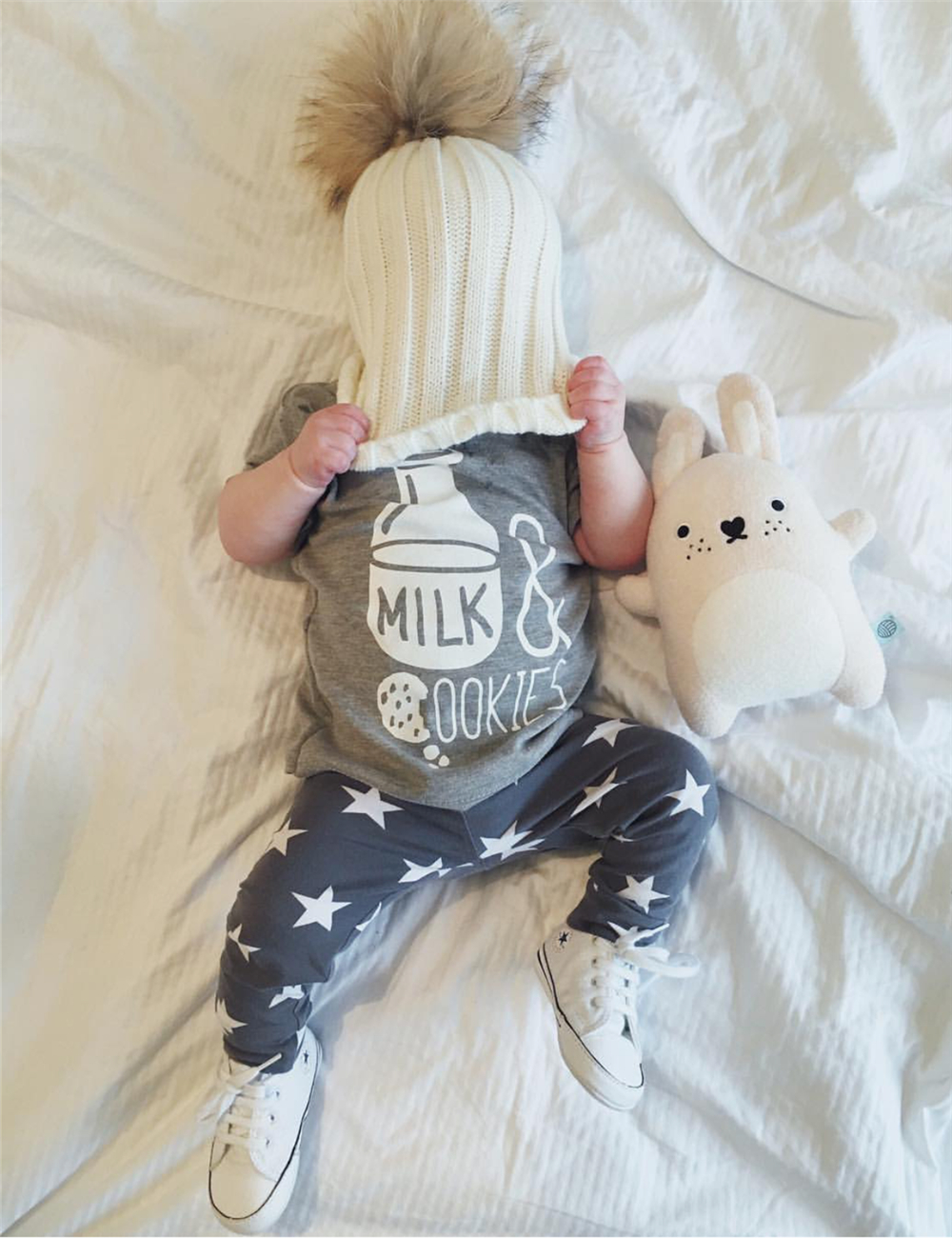 2017 summer baby boy clothes newborn fashion milk printed t-shirt+pants infant 2pcs suit baby girl clothing set