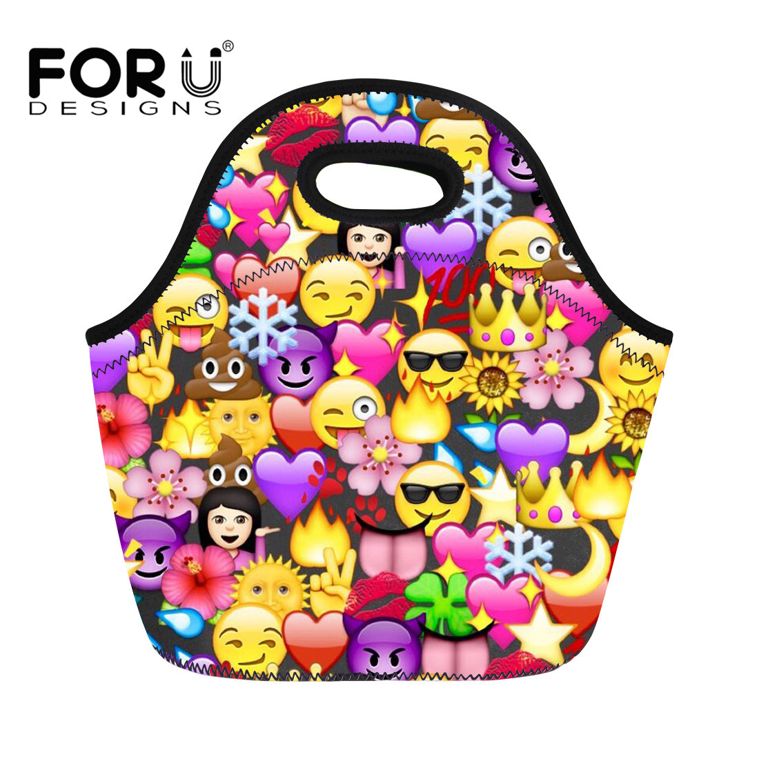 FORUDESIGNS 3D Funny Emoji Printing Neoprene Travel Picnic Food Insulated Lunch Bag for Kids Women Waterproof Container Thicker