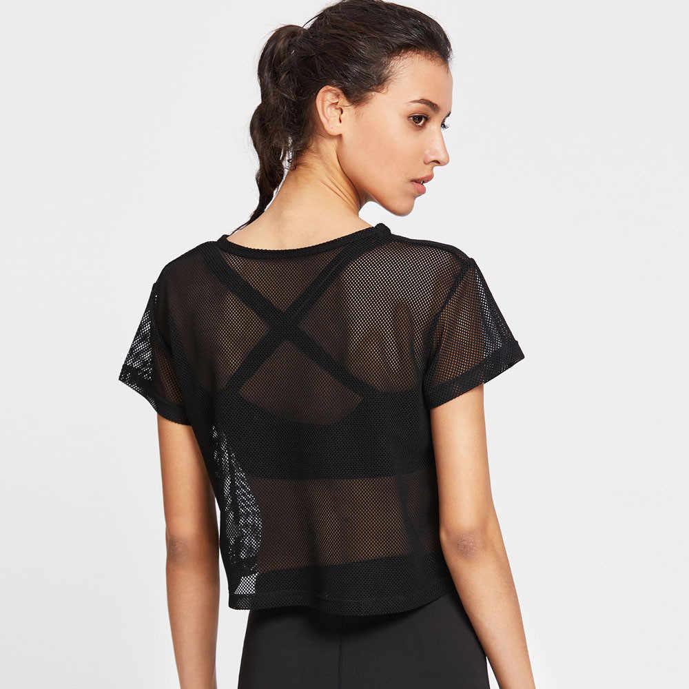 T-shirt femme noir maille cache streetwear sport maille haut modis danse Fitness chemise hauts camiseta mujer # sw # sw