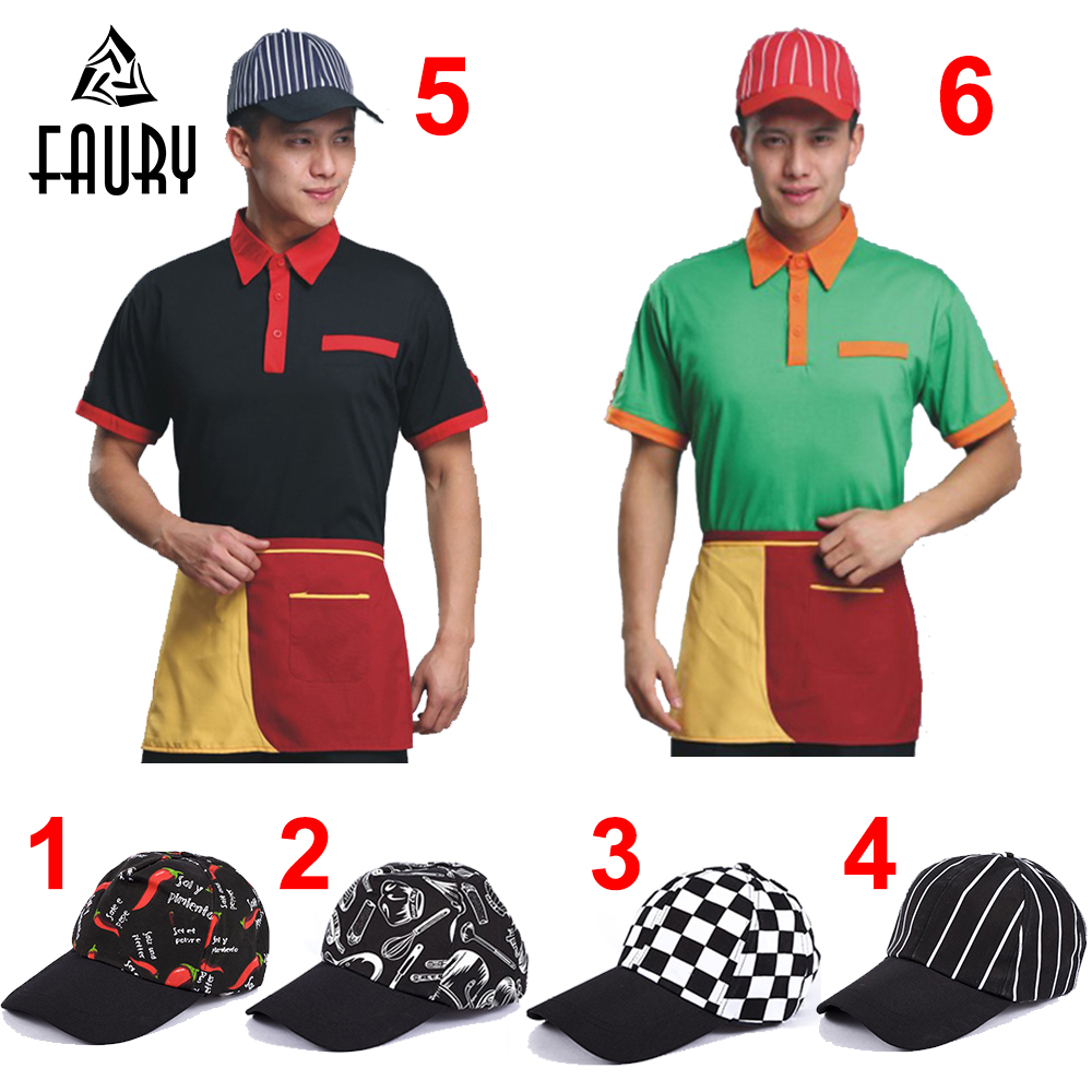 Unisex Restaurant Kitchen Chef Cooking Work Caps Cafe Bakery Waiter BBQ Breathable Workwear Baseball Cap Hats