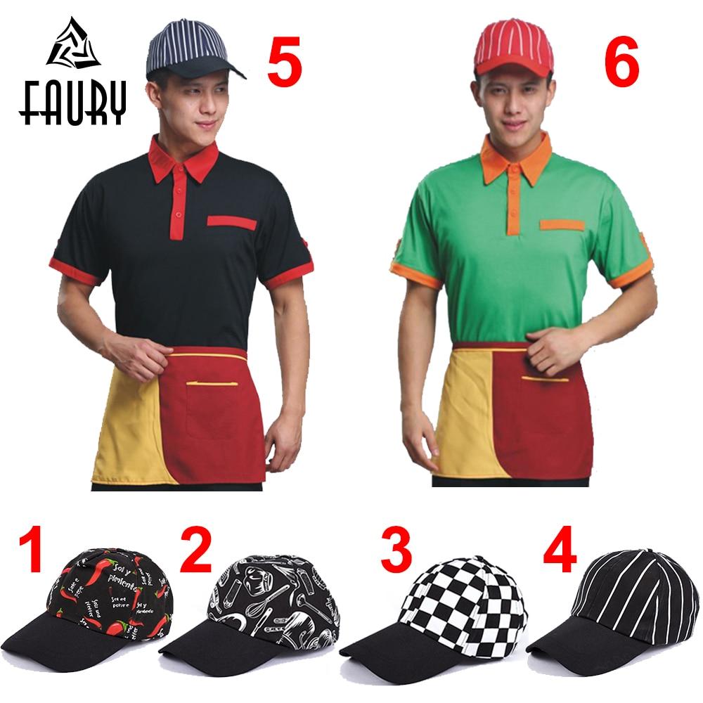 Unisex Restaurant Kitchen Chef Cooking Work Caps Cafe Bakery Waiter BBQ Breathable Workwear Baseball Cap Hats