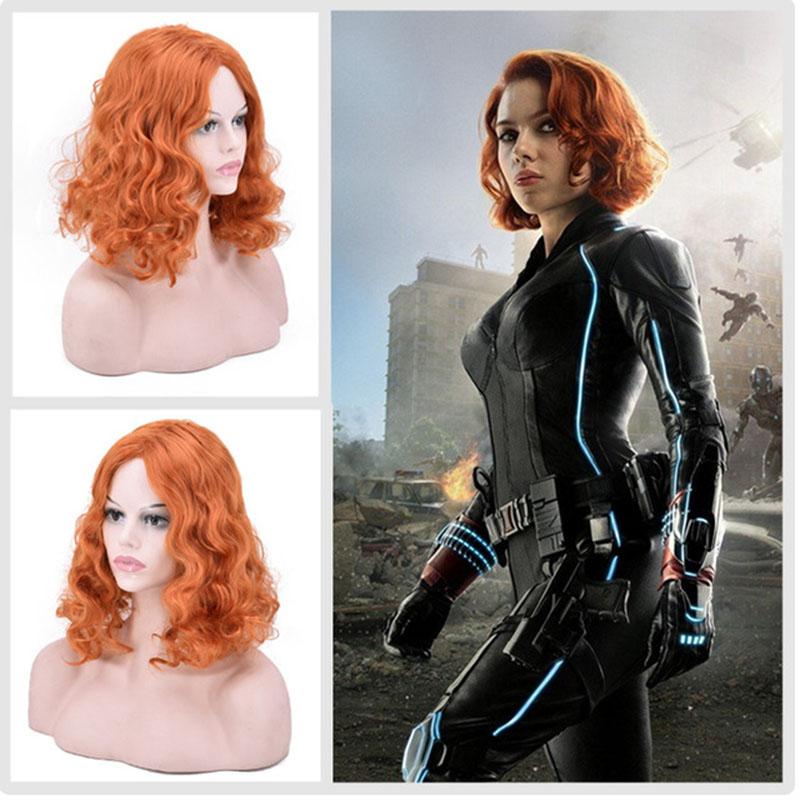 Us 14 86 17 Off The Avengers Infinity War Black Widow Natasha Romanoff Short Orange Curly Synthetic Hair Cosplay Wig For Halloween Role Play On