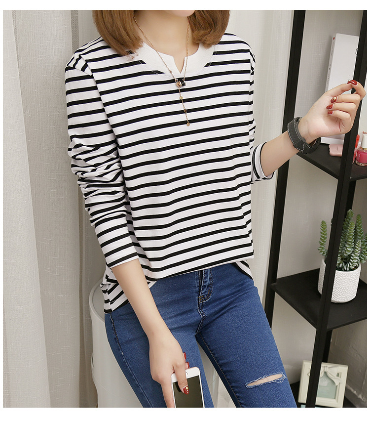 NFIVE Brand 2017 Women's Stripe Loose T-shirts Korean Autumn New Long Sleeved Large Size Shirt Quality Fashion Cotton T-shirt 21